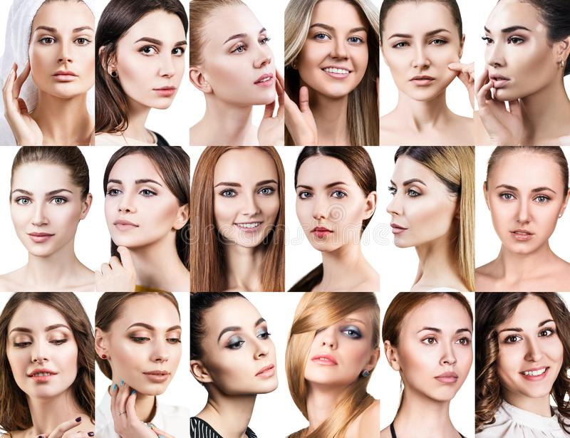 Duży kolaż różne piękne kobiety zdjęcie royalty free