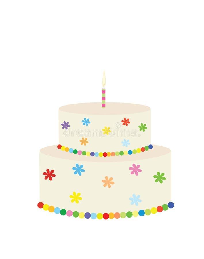 Duży kolorowy urodzinowy tort ilustracja wektor