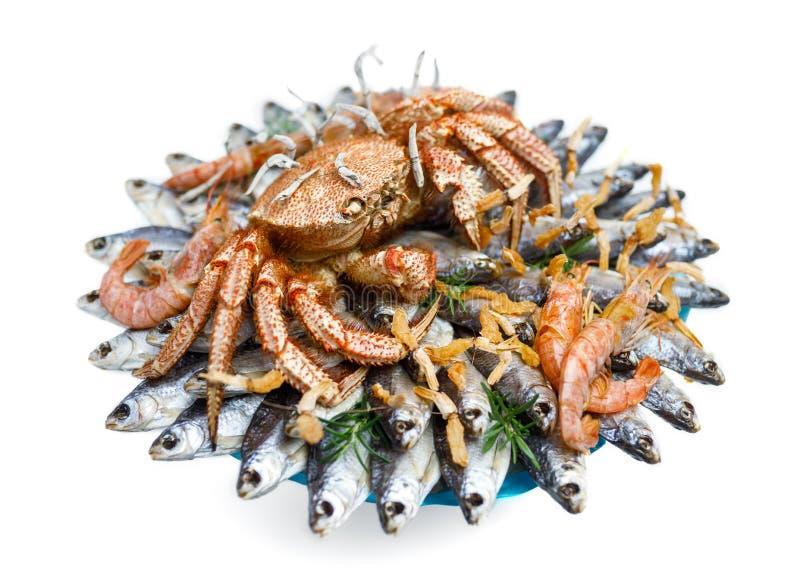 Duży kosmaty gotowany krab siedzi na rozsypisku wysuszona solona ryba na prezenta bukiecie na białym tle obraz royalty free