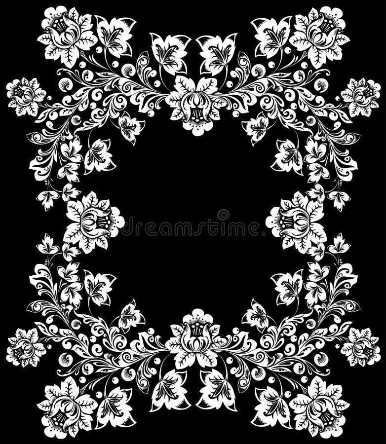duży kwiatu ramy biel ilustracji