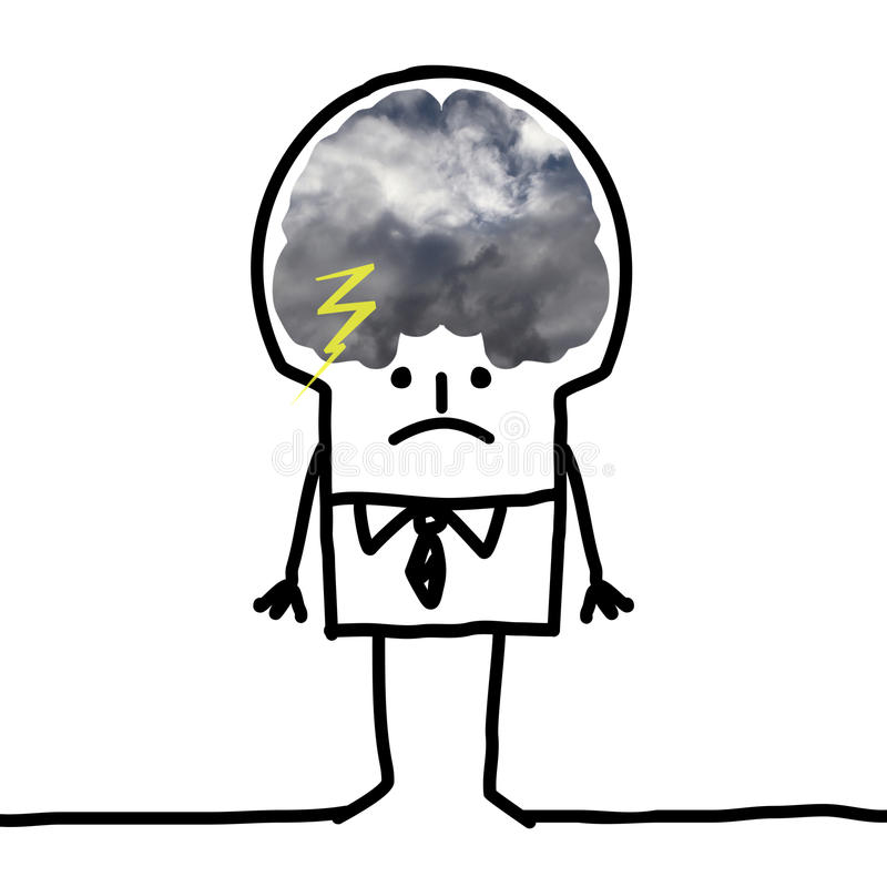 Duży Móżdżkowy mężczyzna - pesymizm i chmury royalty ilustracja