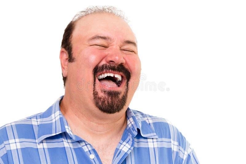Duży mężczyzna ma serdecznie śmiech obraz royalty free