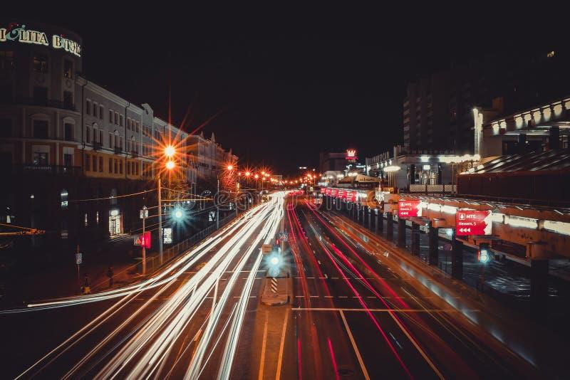 Duży miasta życie, Minsk, Białoruś fotografia royalty free