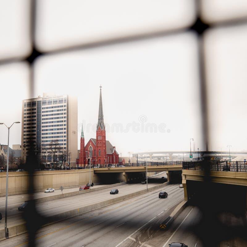 Duży miasto kościół fotografia stock