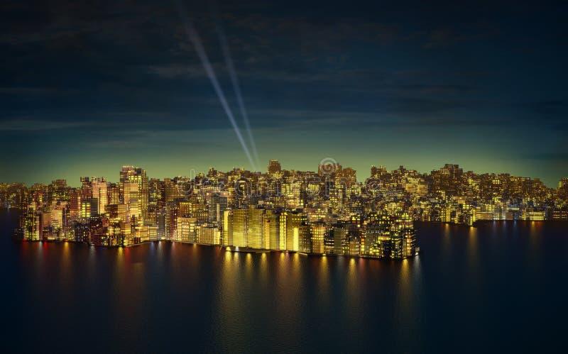 Duży miasto nocą royalty ilustracja