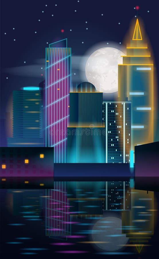 Duży miasto nocy krajobraz z drapaczami chmur w neonowych światłach z odbiciem w wodzie ilustracji