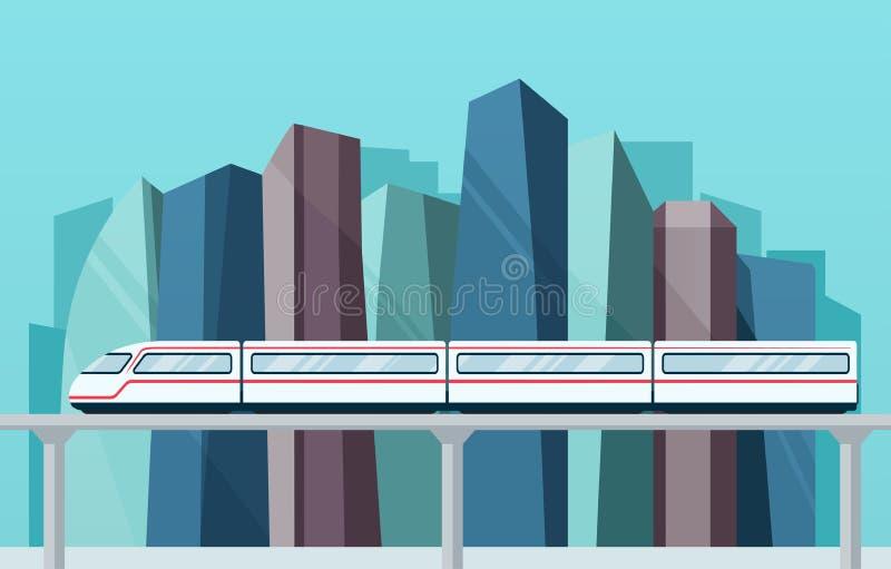 Duży miasto z drapaczami chmur i skytrain metrem royalty ilustracja