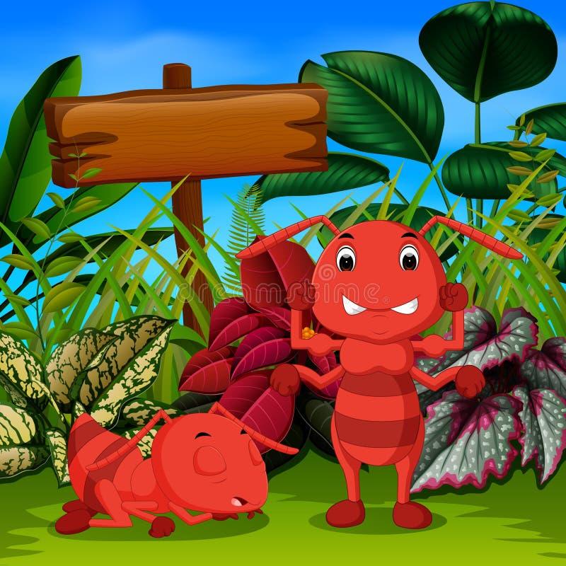 Duży mrówka sen w ogródzie i jego przyjacielu gniewnych ilustracji