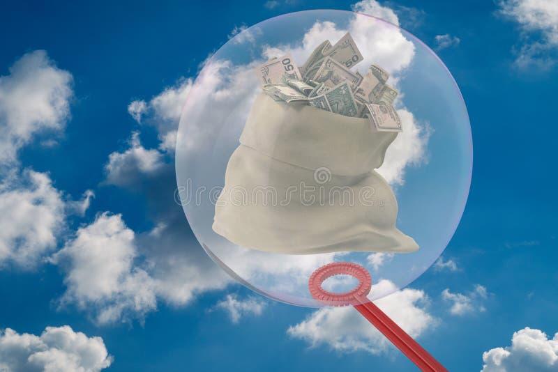 Duży mydlany bąbel ogradza worek pieniądze 3D-Illustration pełno royalty ilustracja