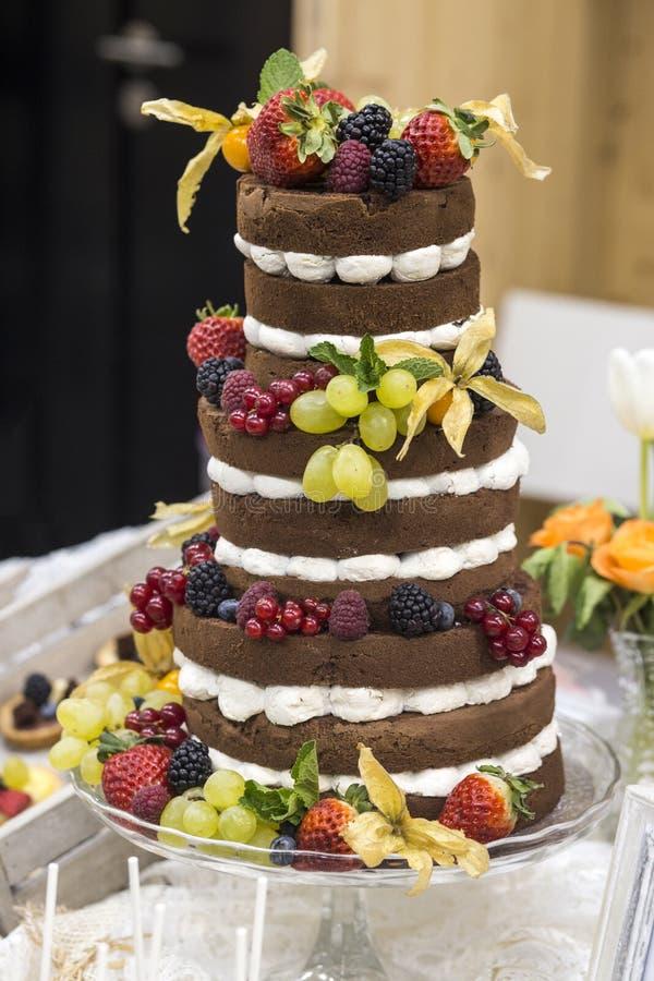 Duży nagi tort z czekolad owoc i warstwami obrazy royalty free