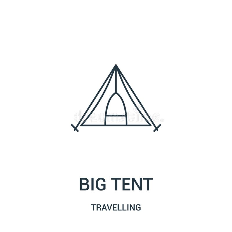 duży namiotowy ikona wektor od podróżnej kolekcji Cienka kreskowa duża namiotowa kontur ikony wektoru ilustracja Liniowy symbol ilustracji