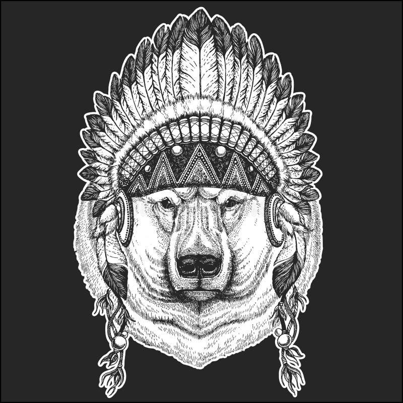 Duży niedźwiedź polarny, Białego niedźwiedzia rodowitego amerykanina Chłodno zwierzęcy jest ubranym indyjski pióropusz z piórka B royalty ilustracja
