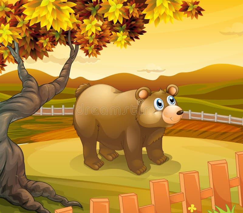 Duży niedźwiedzia inside ogrodzenie ilustracja wektor