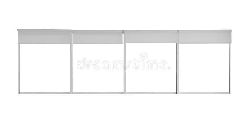 Duży nowożytny okno z otwartymi rolkowymi storami zdjęcie stock