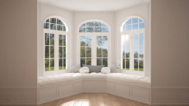 Duży okno z ogrodową łąkową panoramą, minimalista pusta przestrzeń, fotografia royalty free