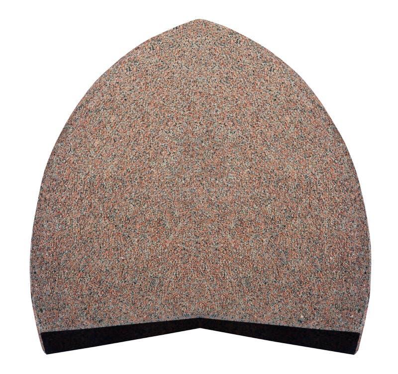 Duży opłakuje headstone czerwony granit w formie jajka odizolowywającego fotografia stock