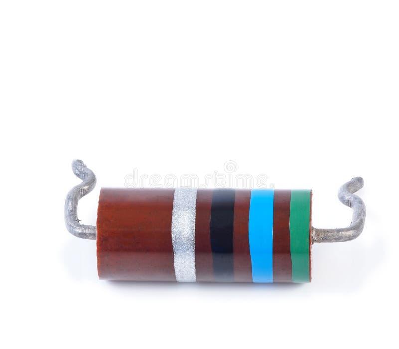 Duży opornik z koloru kodem, odosobnionym zdjęcia stock