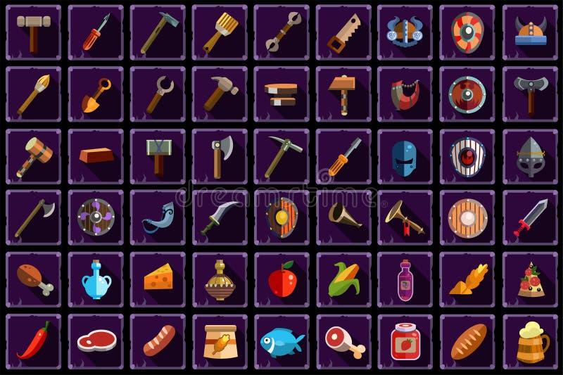 Duży płaski wektorowy ustawiający rzeczy dla online mobilnej gry Narzędzia, wyposażenie, broń i jedzenie z długimi cieniami odizo ilustracja wektor