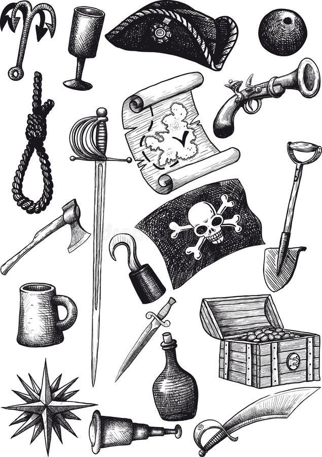 Duży pirata set ilustracja wektor