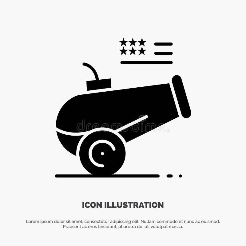 Duży pistolet, działo, granatnik, Moździerzowy stały glif ikony wektor ilustracja wektor