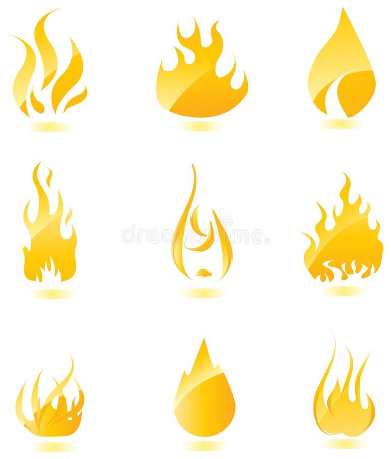 duży pożarnicze glansowane ikony ustawiają royalty ilustracja