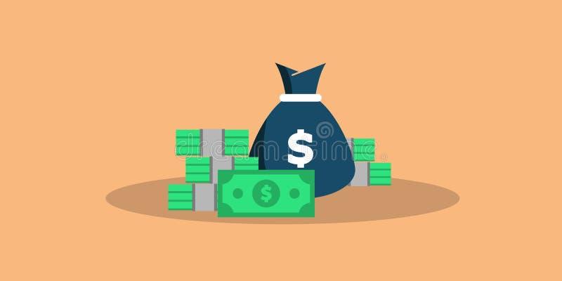 Duży pojęcie pieniądze Duży stos gotówka Setki dolary Wektorowa isometric ilustracja wektor royalty ilustracja