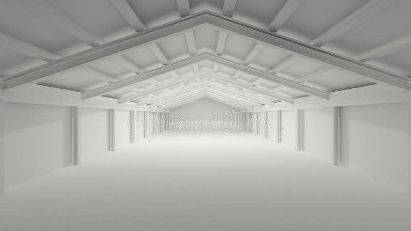 Duży popielaty szarość 3D sala magazynu depozyt ilustracji