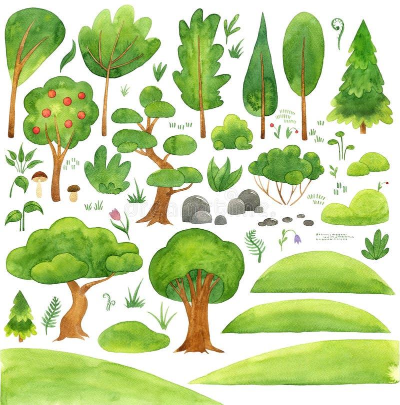 Duży projekt ustawiający z drzewami, naturą i ogród rzeczami, kwiaty, mulda, kamień, wzgórze Rocznika kraju tło z ilustracji