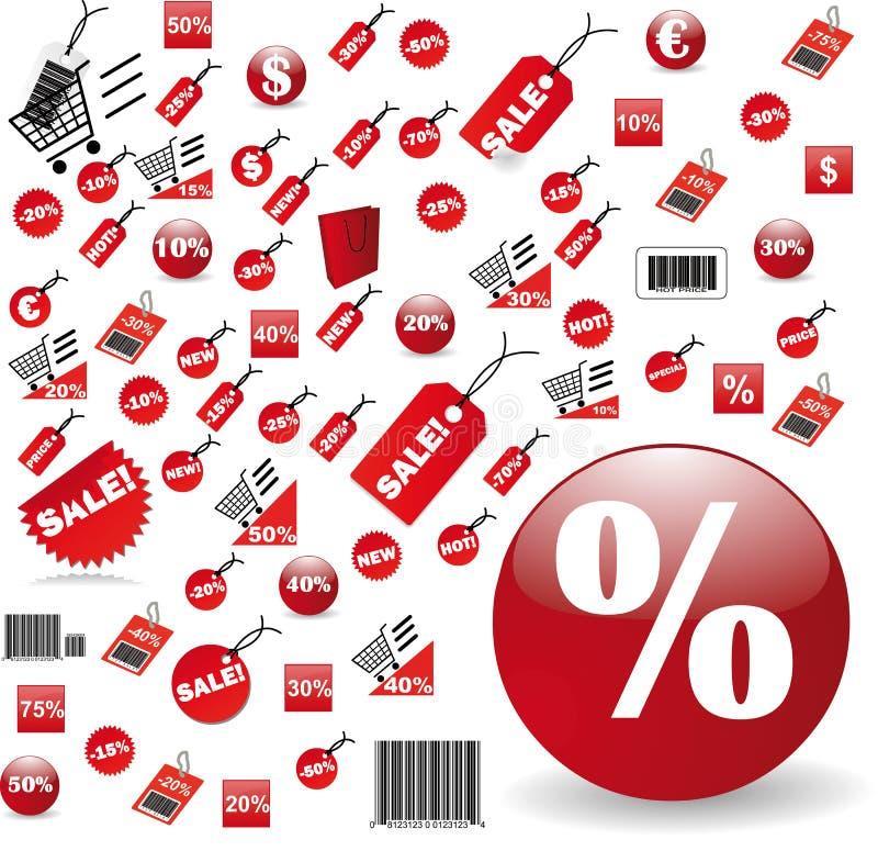 duży projekta ceny czerwony ustalony etykietek wektor ilustracja wektor
