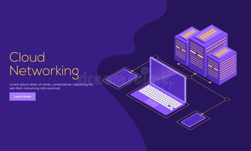 Duży przechowywania danych pojęcia lądowania strony projekt dla Obłocznego Networki ilustracji