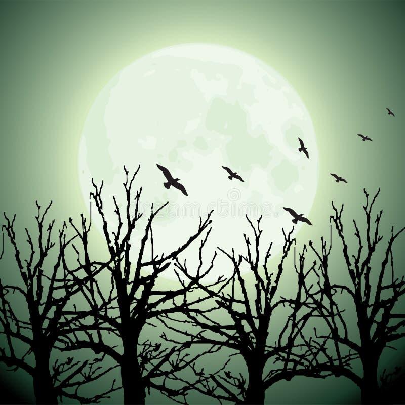 duży ptaków księżyc drzewa royalty ilustracja