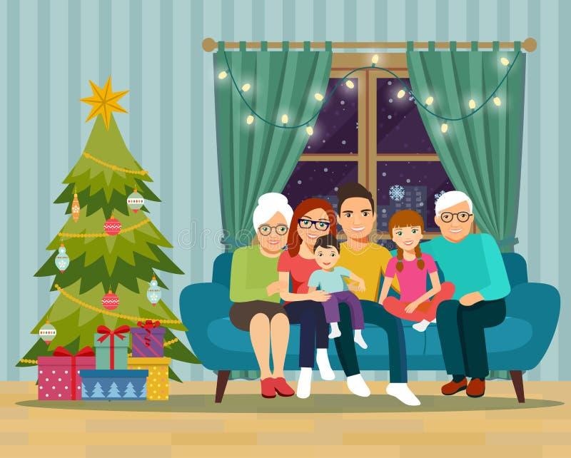 Duży rodzinny obsiadanie na kanapie w żywym pokoju boże narodzenie nowy rok szczęśliwy wesoło ilustracja wektor