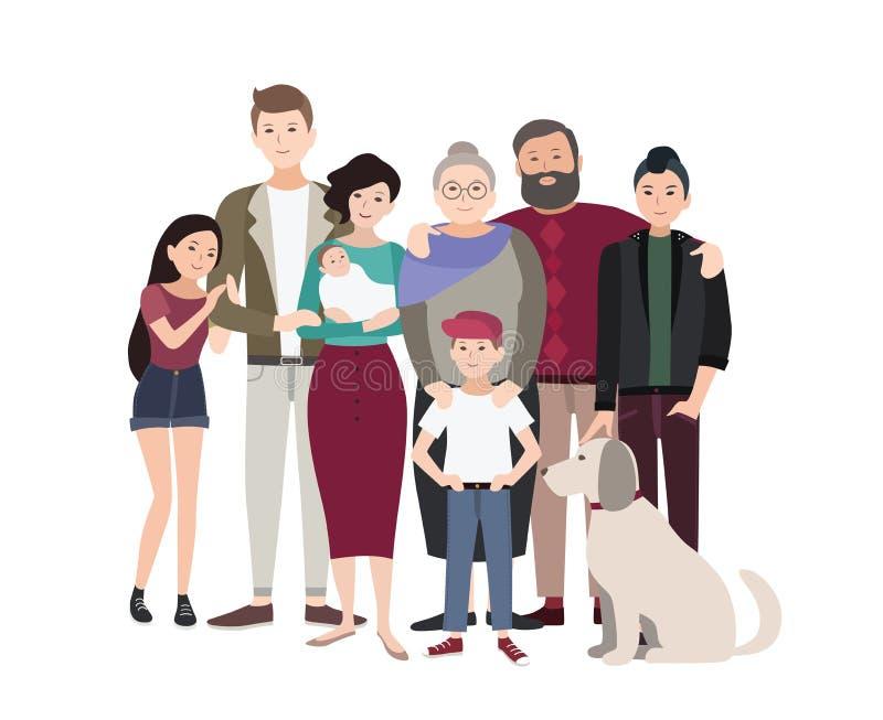 duży rodzinny portret Szczęśliwi ludzie z krewnymi Kolorowa płaska ilustracja ilustracji