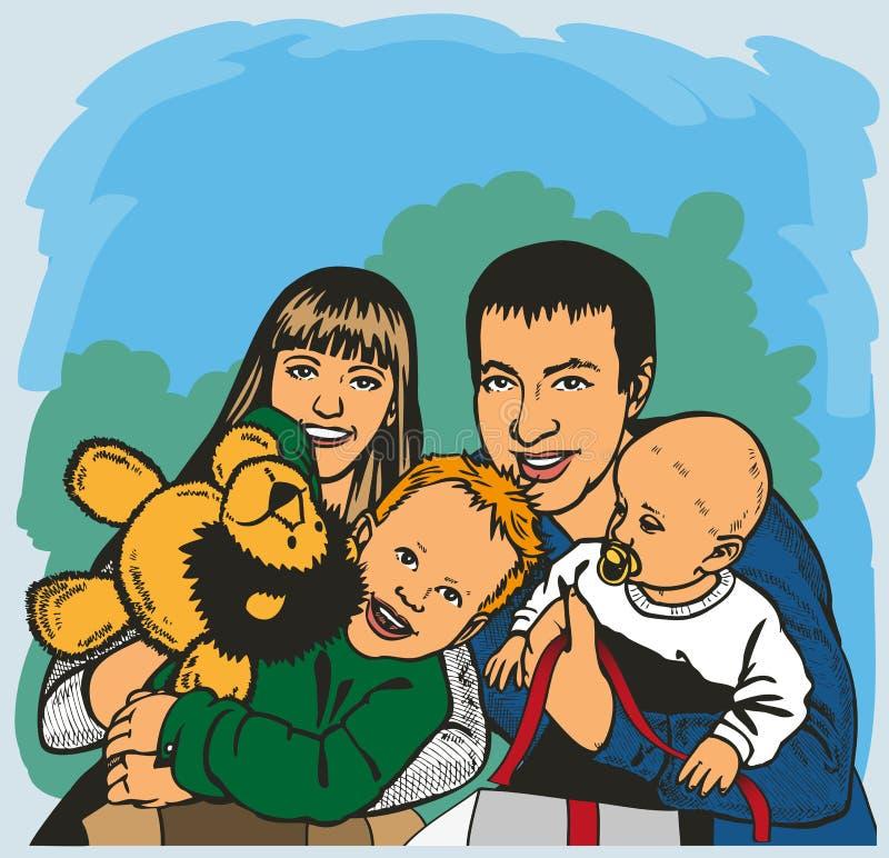duży rodzinny szczęśliwy royalty ilustracja