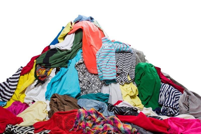 Duży rozsypisko kolorowi ubrania obraz stock