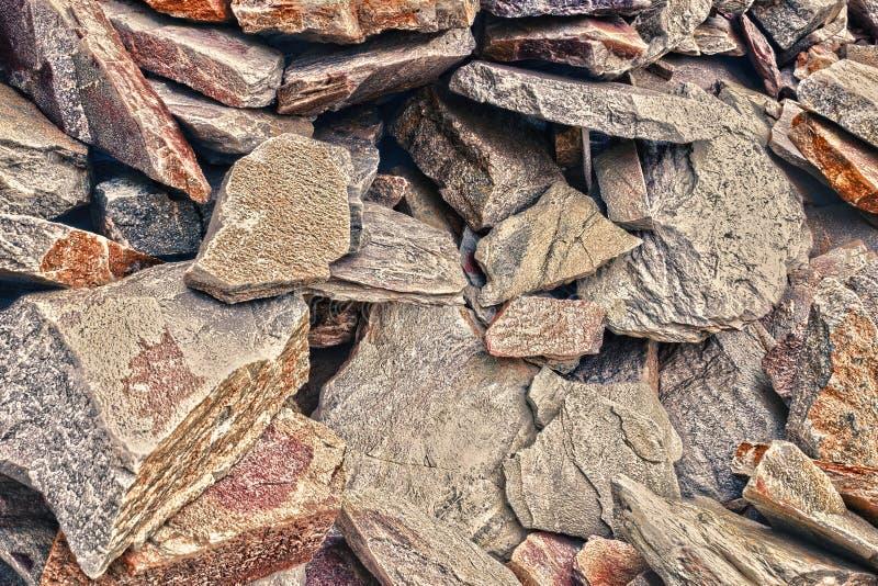 Duży rozsypisko piaskowowie, składowa przestrzeń różnorodny naturalny piaskowiec Pęknięcia i kolorowe warstwy piaskowcowy tło Pat zdjęcie royalty free