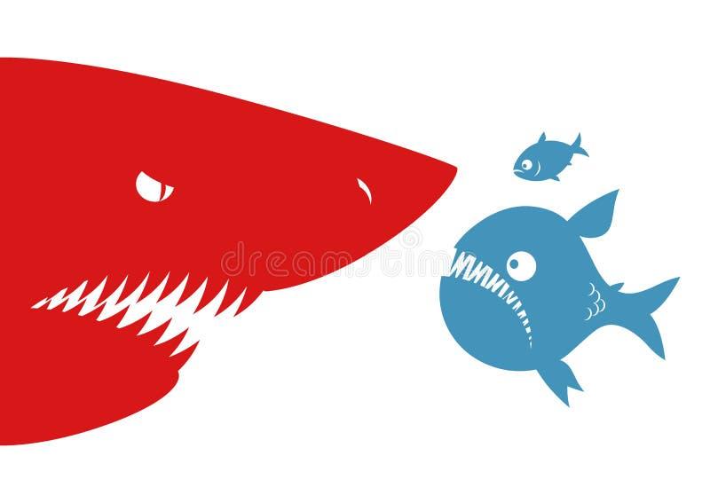 Duży rybi mały rekin i ryba royalty ilustracja