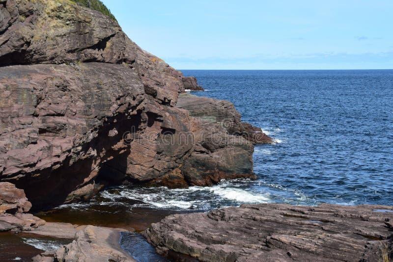 Duży Rzeczny Whirly dziury teren w Flatrock, NL Kanada obrazy stock