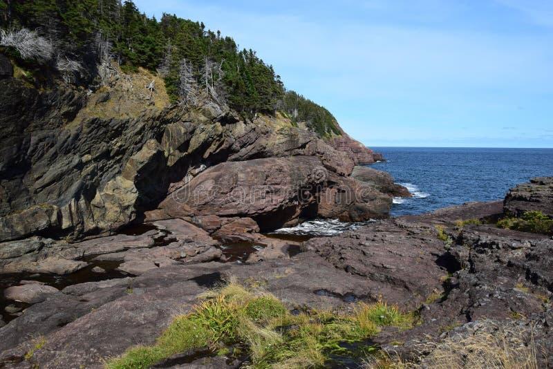 Duży Rzeczny Whirly dziury teren w Flatrock, NL Kanada zdjęcie royalty free