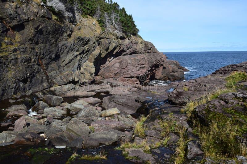 Duży Rzeczny Whirly dziury teren w Flatrock, NL Kanada obraz royalty free