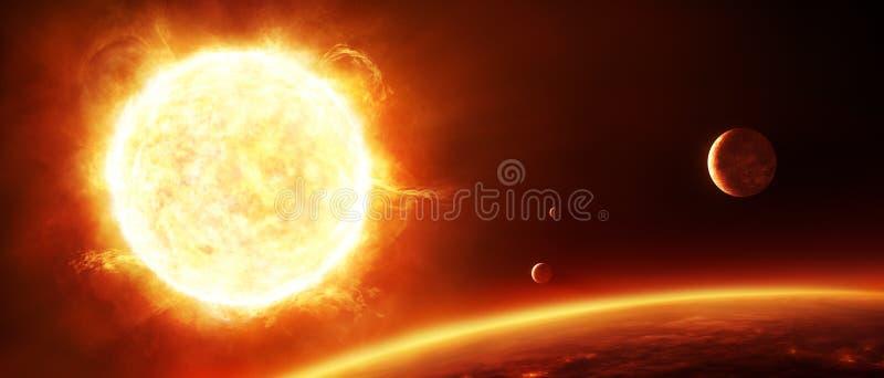 Duży słońce z planetami ilustracja wektor