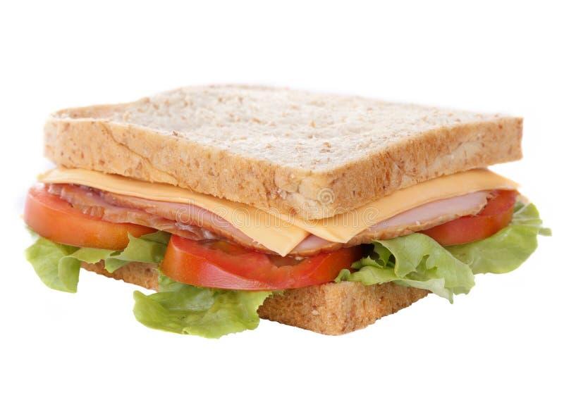 duży serowy świeży baleron odizolowywająca kanapka zdjęcie stock