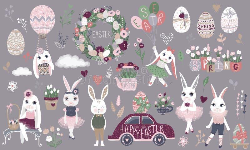 Duży set śliczni Szczęśliwi Wielkanocni postać z kreskówki i projekta eleme ilustracji