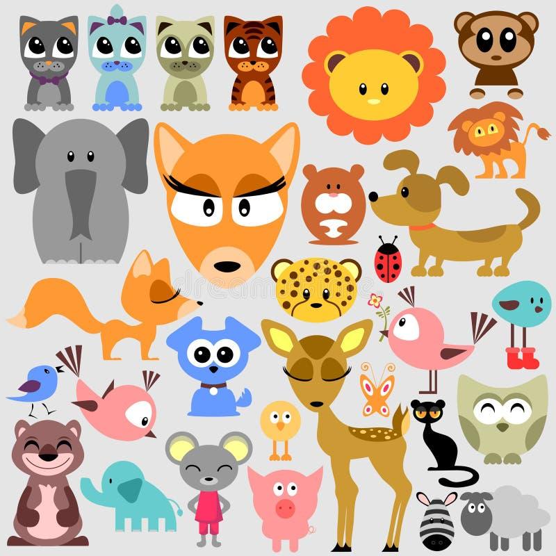 Duży set śliczni zwierzęta ilustracja wektor