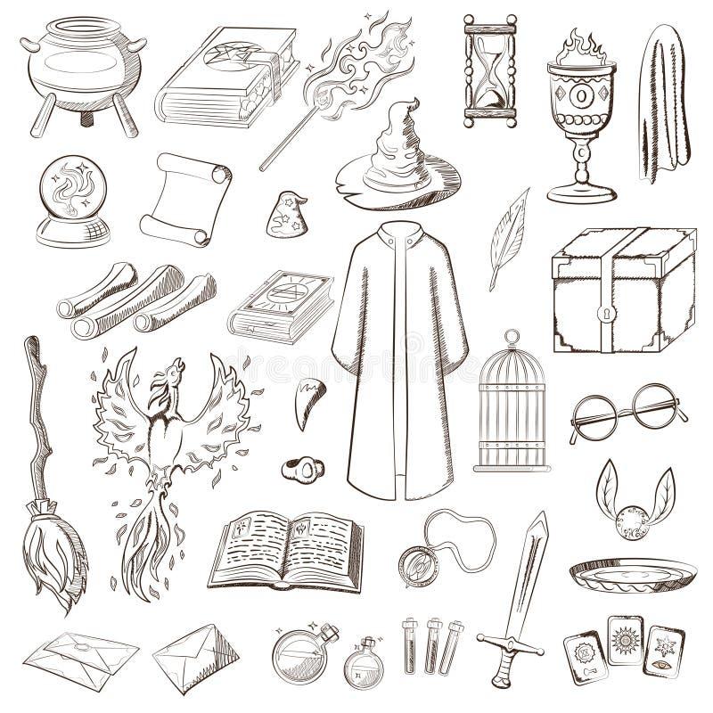 Duży set bawić się czarownika Rzecz magik: czarownik, kapelusz, magii książka, ślimacznica, napój miłosny, miotła, kryształowa ku royalty ilustracja