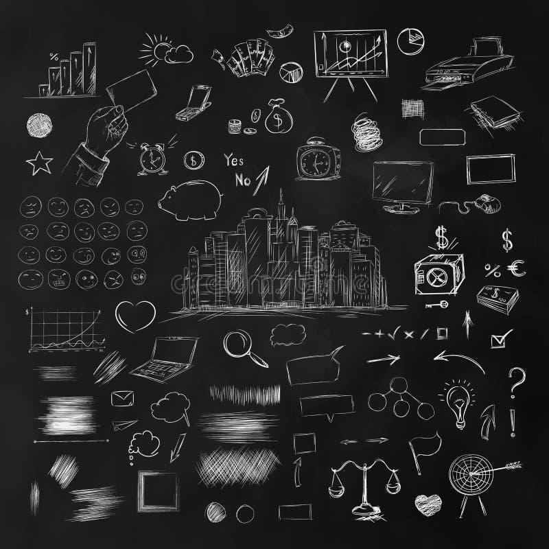 Duży set biznesowi składniki Czarny i biały nakreślenie pieniądze ilustracja wektor