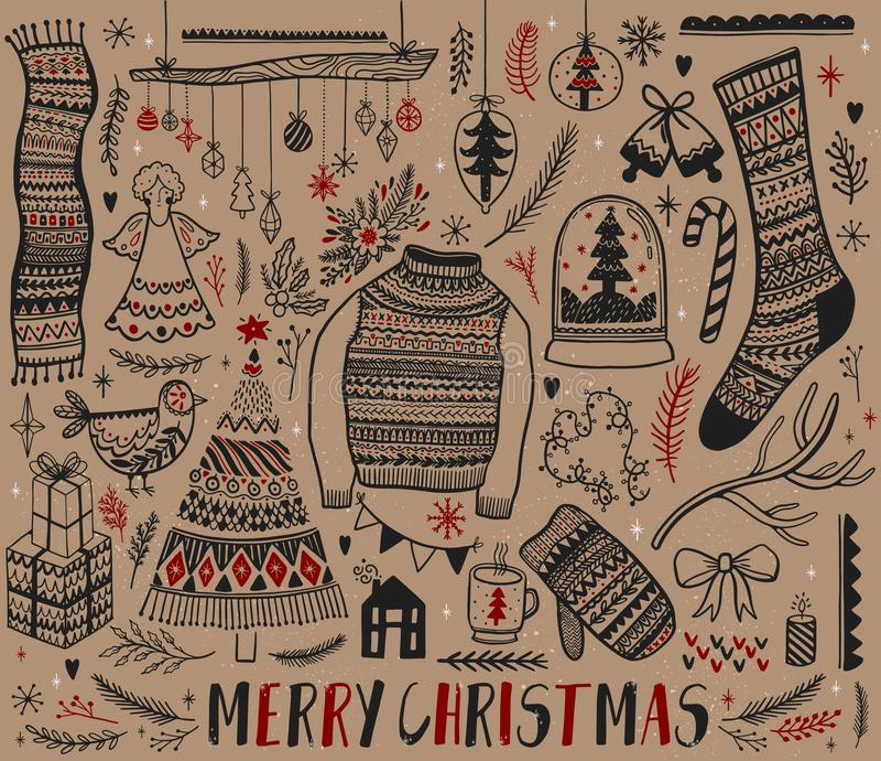 Duży set boże narodzenie projekta element w doodle stylu Ręka remisu kolekci nowy rok gałąź colours dekoracyjny rysunek wypełniaj ilustracja wektor