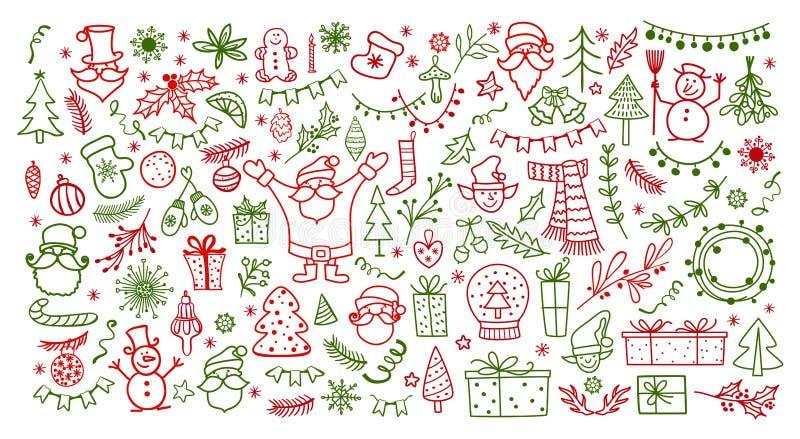 Duży set boże narodzenie projekta element w doodle stylu Zima wakacje wektoru ilustracja ilustracja wektor