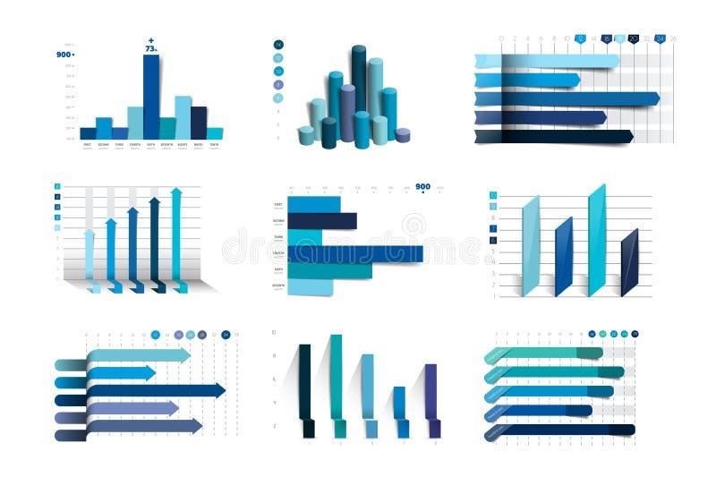Duży set charst, wykresy Błękitny kolor Infographics biznesu elementy ilustracja wektor
