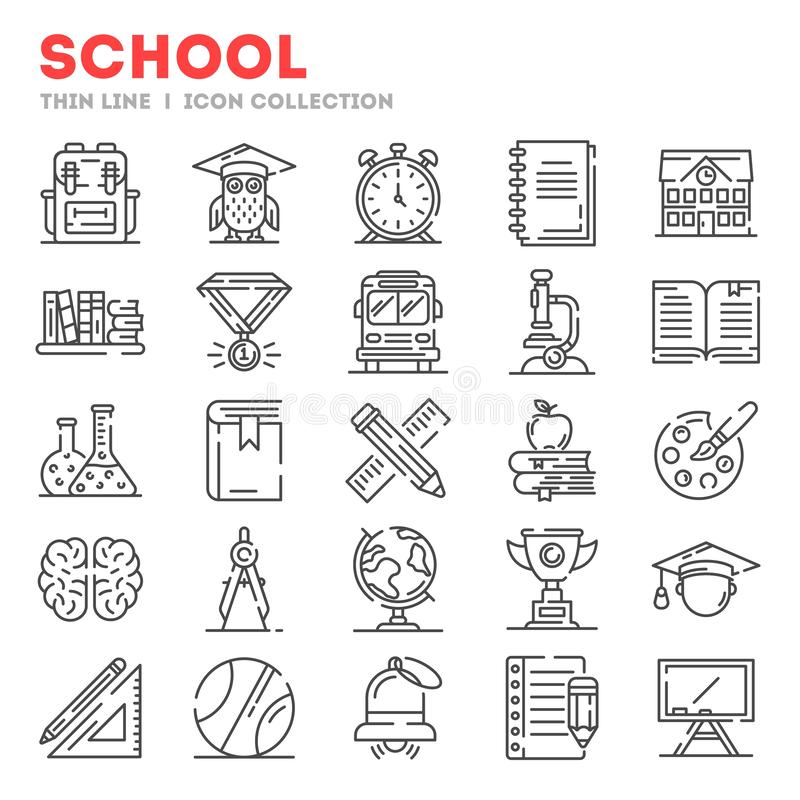 Duży set cienkie kreskowe ikony o szkole, szkoła wyższa, uniwersytecki życie odizolowywający na bielu ilustracja wektor